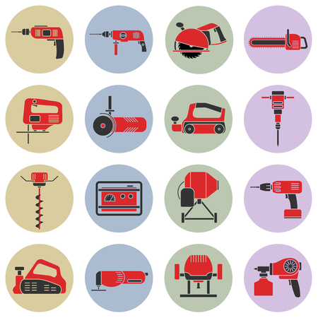 auger: Set of flat colorful repair tool icons. Home repair tools pictogram. Worker tools. Electric tools. Tools sign.