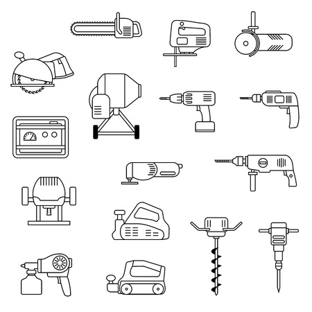 auger: Set of flat repair tool icons. Home repair tools pictogram. Worker tools. Electric tools. Tools sign.