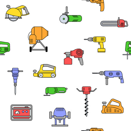 Seamless pattern of repair tool icons. Home repair signs. Worker tools. Isolated on white background. Tools background.