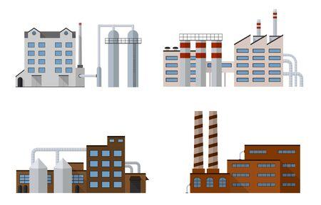 Factory-Set isoliert auf weißem Hintergrund. Factory-Symbol in der flachen Stil. Industrielle Fabrikgebäude. Factory-Konzept. Die Herstellung Kraftwerksgebäude. Dekorative Fabrik-Symbol. Vektor-Illustration.