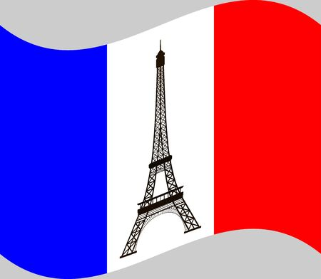 historical romance: Eiffel tower on background of France flag. France flag with the Eiffel tower in the center of it. Vector illustration.