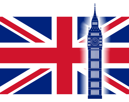 great britain flag: Big ben on background of Great Britain flag. British Union Jack flag and big ben tower. Vector illustration. Illustration