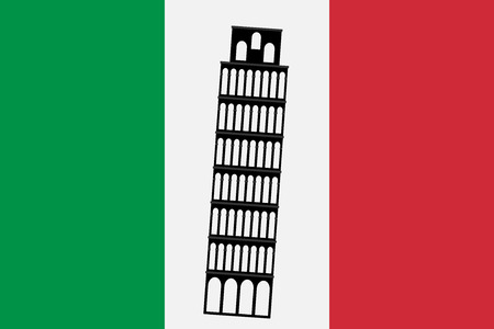 Pisa tower on background of Italy flag. Rome attraction Pisa tower symbol. Vector illustration. Illustration