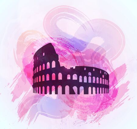 coliseum: Coliseum ruin silhouette on colorful background. Coliseum sign. Tourism sight. Vector illustration.