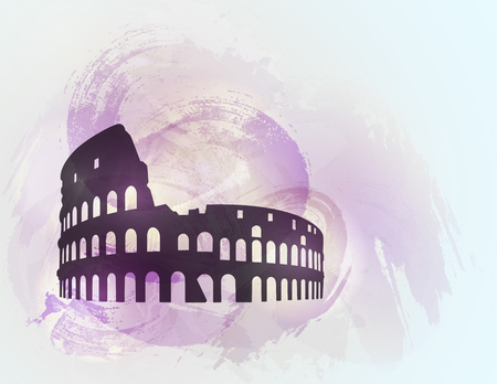 Coliseum ruin silhouette on colorful background. Coliseum sign. Tourism sight. Vector illustration.
