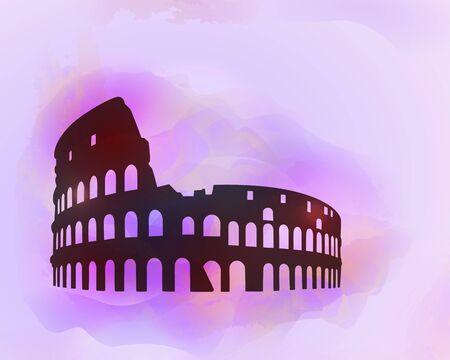 ruin: Coliseum ruin silhouette on colorful background. Coliseum sign. Tourism sight. Vector illustration.
