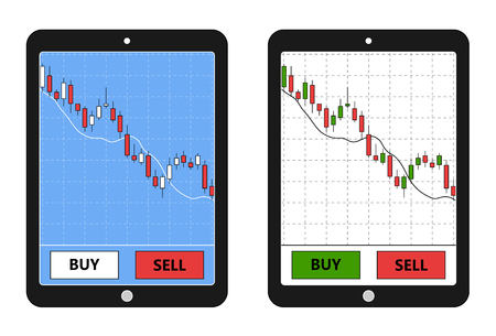 forex: Tablet with forex chart. Forex application on tablet. Digital device with forex diagram. Vector illustration.