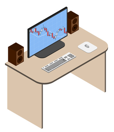 working place: Isometric analyst working place with forex chart on monitor. Forex application launched on computer display. Vector illustration. Illustration