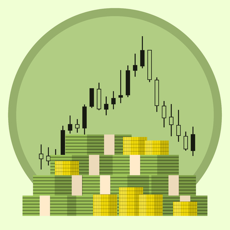 stock trading: Pack of paper and coin money dollars on forex stock chart background. Concept of money growth. Stock trading. Vector illustration.