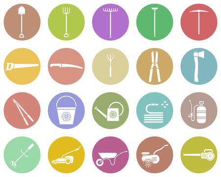 herramientas de trabajo: Conjunto de herramienta de jardín. icono de la herramienta de jardín. equipos de jardinería. herramientas para la agricultura. Ilustración del vector.