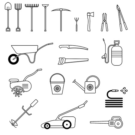 Set of garden tool. Garden tool icon. Gardening equipment. Agriculture tools. Vector illustration. Ilustração