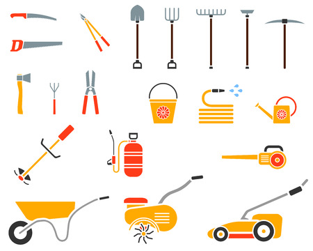 cultivator: Set of garden tool. Garden tool icon. Gardening equipment. Agriculture tools. Vector illustration. Illustration