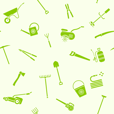 secateurs: Seamless pattern of garden tools. Background of garden tool icons. Gardening equipment. Agriculture tools. Vector illustration. Illustration