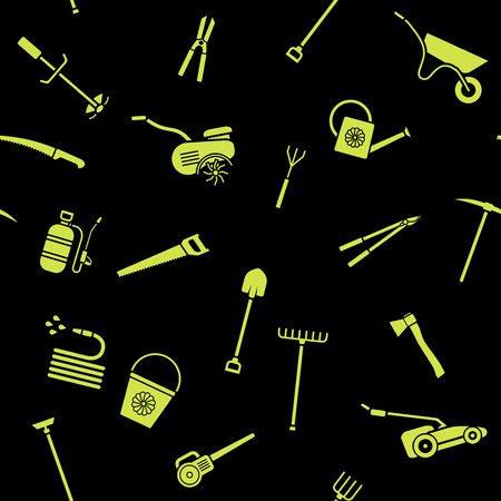 Seamless pattern of garden tools. Background of garden tool icons. Gardening equipment. Agriculture tools. Vector illustration. Illustration