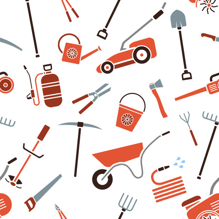 gardening tools: Seamless pattern of garden tools. Background of garden tool icons. Gardening equipment. Agriculture tools. Vector illustration. Illustration