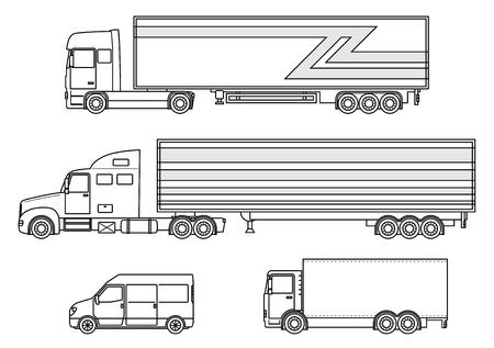 semitrailer: Set of truck, van icon. Delivery trailer truck. Delivery trucks isolated. Vector illustration. Illustration