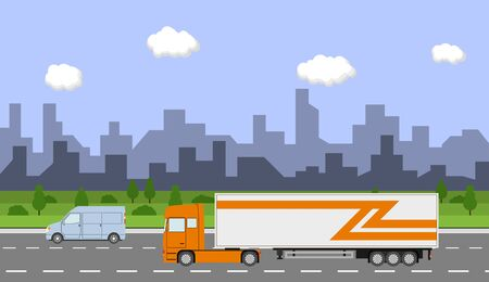 commercial tree service: Truck on the road. City day time landscape. Heavy trailer truck. Logistic and delivery concept. Vector illustration. Illustration