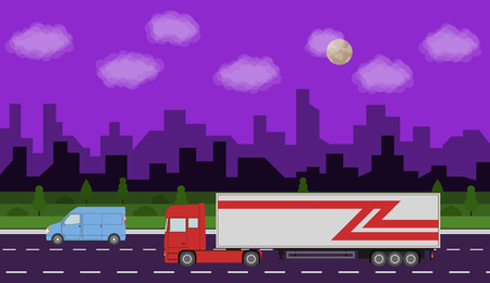 city night: Truck on the road. City night time landscape. Heavy trailer truck. Logistic and delivery concept. Vector illustration.