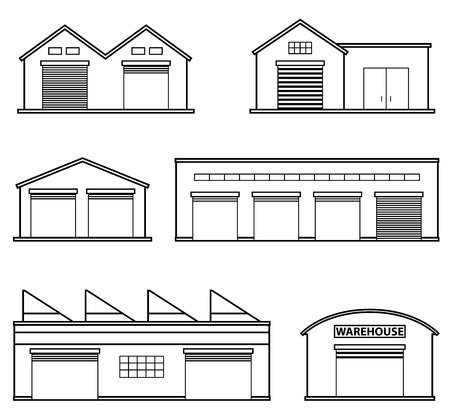 storehouse: Set of four warehouses. Warehouse icon. Storehouse building isolated in flat style.