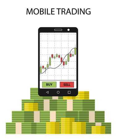 online trading: Tablet smartphone with stock chart and pack of money. Concept of online trading. Forex money income. Vector illustration.