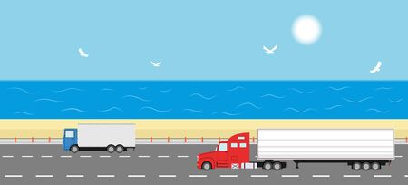beach side: Truck on the road. Sea shore landscape. Two heavy trailer trucks. Logistic and delivery concept. Vector illustration. Illustration