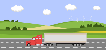 rural road: Truck on the road. Rural landscape with windmill. Heavy trailer truck. Logistic and delivery concept. Vector illustration.