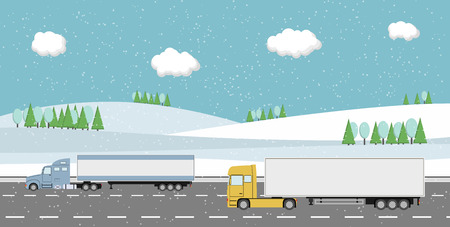 Truck on the road. Rural winter landscape. Heavy trailer truck. Logistic and delivery concept. Vector illustration.