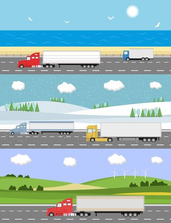 Truck on the road. Heavy truck on landscape background. Logistic and delivery concept. Vector illustration. Ilustração