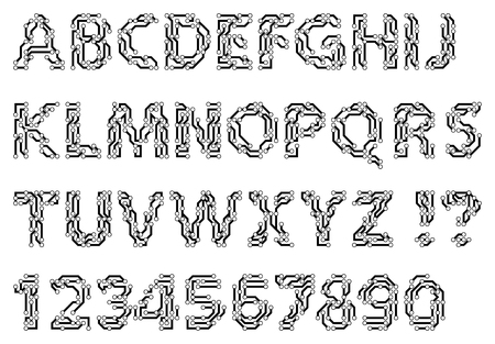 typescript: Alphabet of a circuit style letters and digits. Techno style typescript. Vector illustration. Illustration