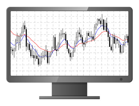 bearish business: Chart with forex or stock candles graphic. on computer monitor. Vector illustration.