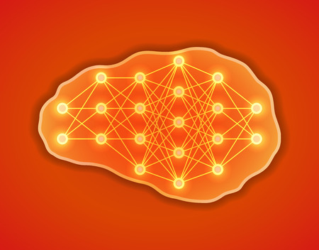 Thinking, creativity concept. Brains with neural net inside it. Neurons network. Vector illustration.