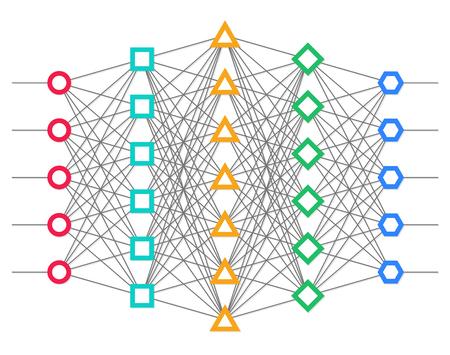 RESEAU: net Neural. Réseau neuronique. L'apprentissage en profondeur. concept de la technologie cognitive. Vector illustration