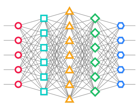 Sieć neuronowa. sieci neuronowej. Głębokie nauki. Koncepcja poznawcza technologii. ilustracji wektorowych