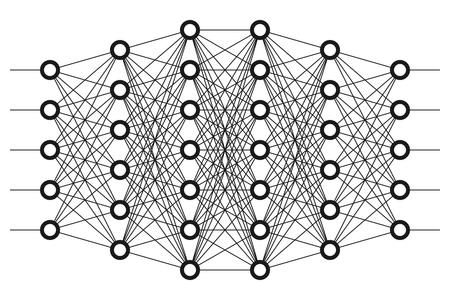Rete neurale. rete Neuron. apprendimento profondo. concetto di tecnologia cognitiva. illustrazione di vettore Archivio Fotografico - 62610991