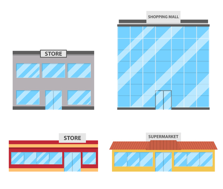 Set of store, shopping mall icons. Mall, shop, store, supermarket in flat style. Vector illustration