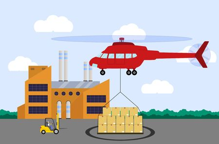Helicopter carrying container. Air cargo transportation. Air transport cargo delivery concept. Flat style. Vector illustration. Illustration