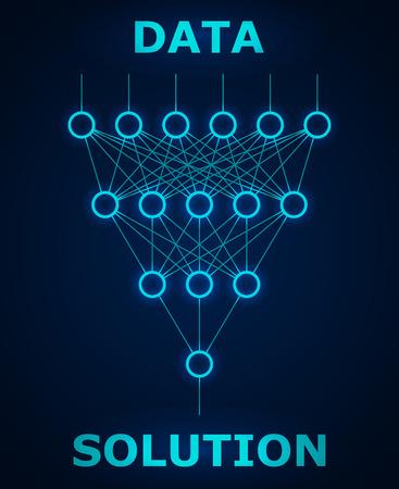 discrete: Neural net. Neuron network. Data engineering. Deep learning. Cognitive technology concept. Vector illustration