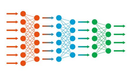 net Neural. Réseau neuronique. ingénierie de données. L'apprentissage en profondeur. concept de la technologie cognitive. Vector illustration