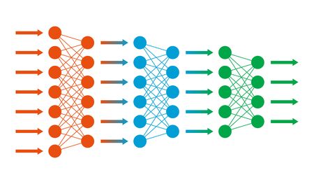 Sieć neuronowa. sieci neuronowej. Pozostałe dane techniczne. Głębokie nauki. Koncepcja poznawcza technologii. ilustracji wektorowych