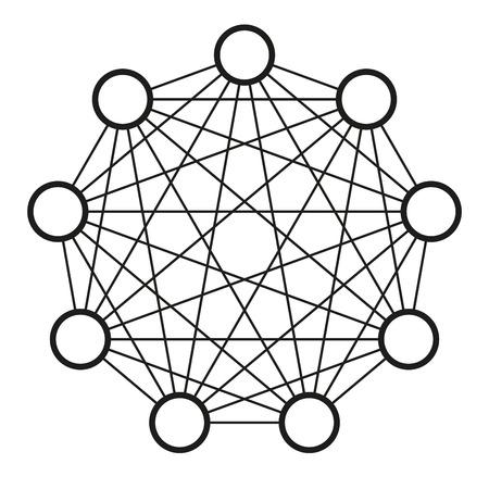 Neurale net. Neuron netwerk. Gegevens engineering. Diep leren. Cognitieve technologie concept. vector illustratie Stockfoto - 67834313