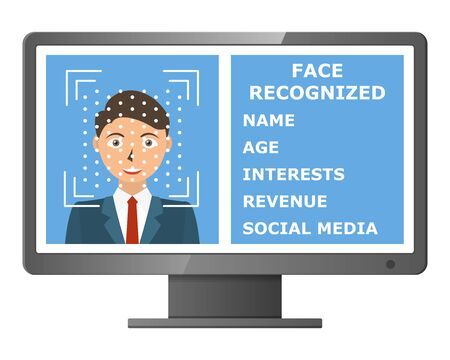 Facial recognition. Face scanning authentication. Biometric identification. Face scanner technology. Vector illustration Illustration
