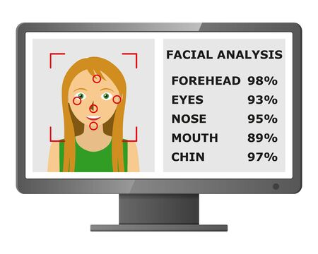 biometric: Facial recognition. Face scanning authentication. Biometric identification. Face scanner technology. Vector illustration Illustration