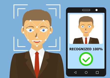 Facial recognition. Face scanning authentication. Biometric identification. Face scanner technology. Vector illustration  イラスト・ベクター素材