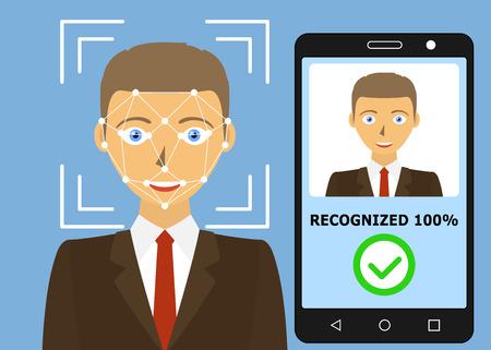 Gezichtsherkenning. Gezicht scannen authenticatie. Biometrische identificatie. Gezicht scanner technologie. vector illustratie Vector Illustratie