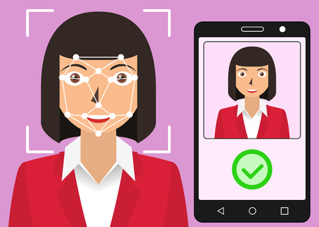 Facial recognition. Face scanning authentication. Biometric identification. Face scanner technology. Vector illustration 向量圖像