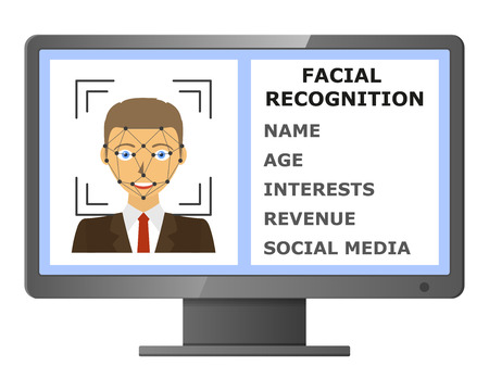 authentication: Facial recognition. Face scanning authentication. Biometric identification. Face scanner technology. Vector illustration Illustration