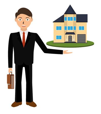 Man realtor shows a house for sale. Buy apartment. Sale housing, Real estate broker, cottage for sale. Illustration