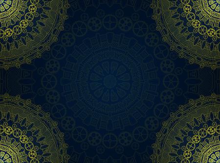 steam turbine: Banner with steampunk design elements. Steam mechanic elements. Steampunk ornament background. Vector illustration.