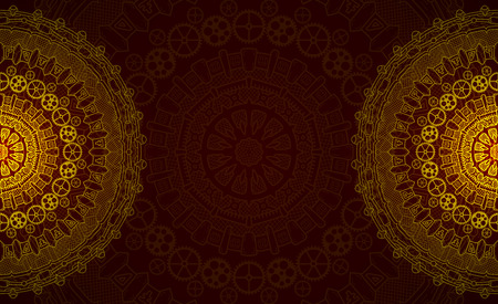 cyberpunk: Banner with steampunk design elements. Steam mechanic elements. Steampunk ornament background. Vector illustration.