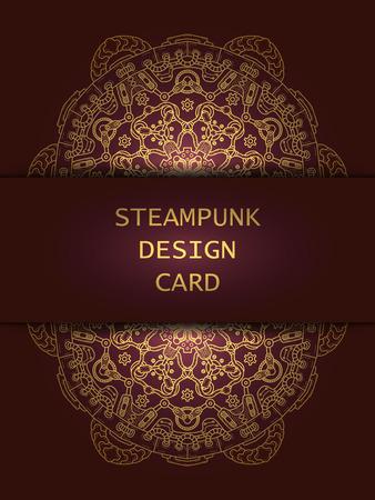 steam iron: Banner with steampunk design elements. Steam mechanic elements. Steampunk ornament background. Vector illustration.